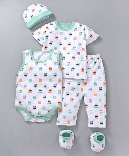MFM Printed 5 Piece Clothing Set - White Green