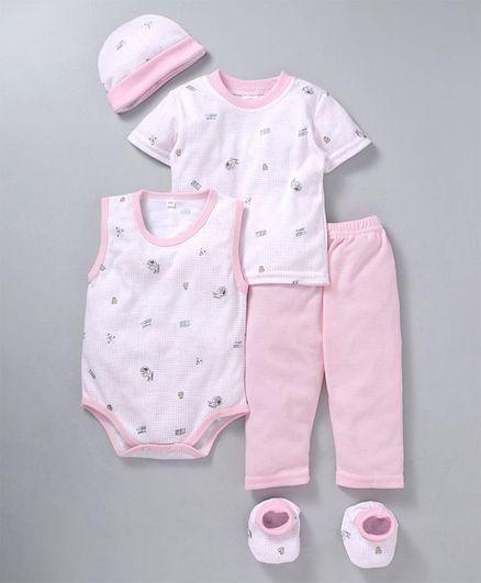 MFM Printed 5 Piece Printed Clothing Set -  Pink