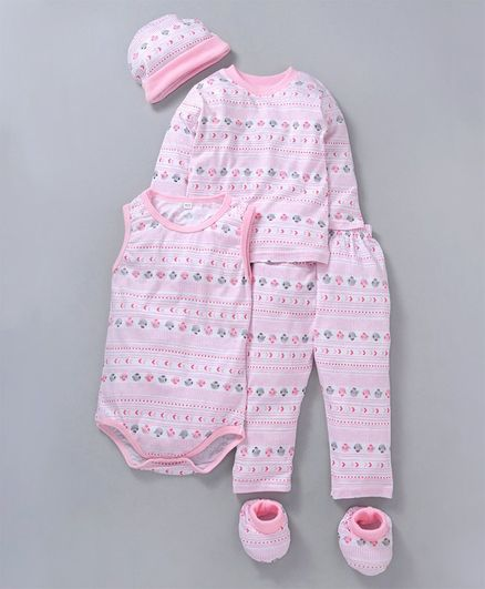 MFM Printed 5 Piece Printed Clothing Set -  Pink