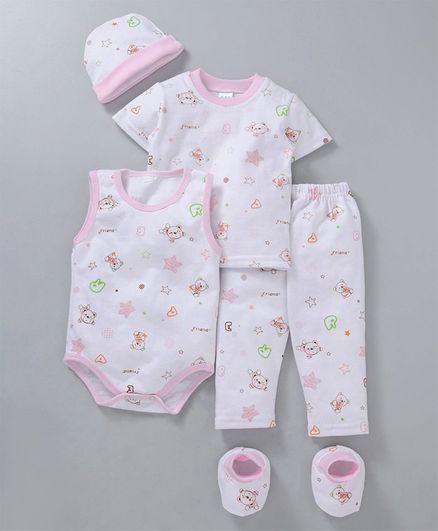 MFM Printed 5 Piece Clothing Set Multi Print - White Pink