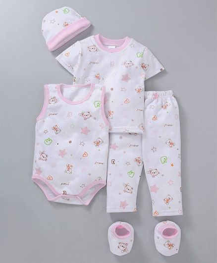 MFM Printed 5 Piece Clothing Set Multi Print - White Pink