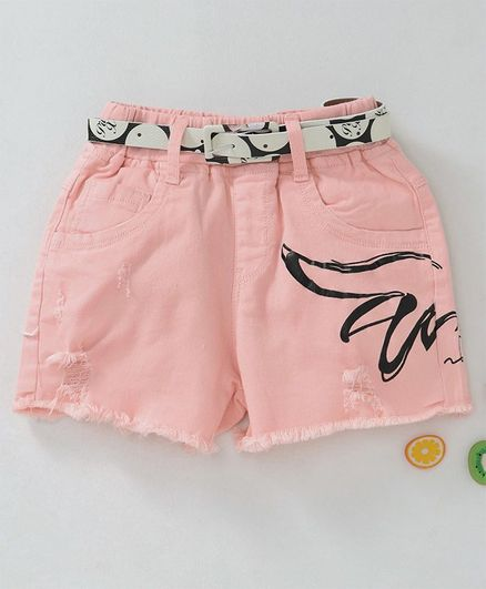 Kookie Kids Printed Shorts With Belt - Peach