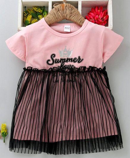 Meng Wa Half Sleeves Frock Net Overlay & Summer Print - Pink