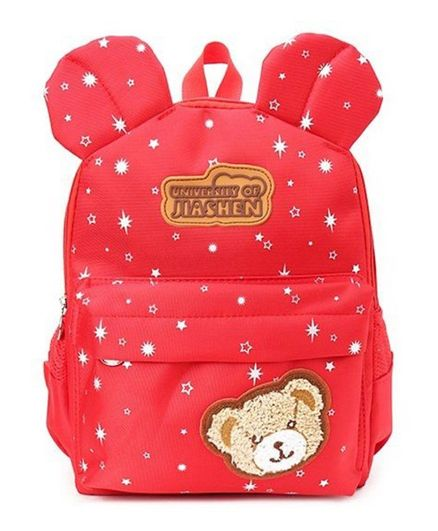 Kidofash Bear Patched Star Print Backpack - Red