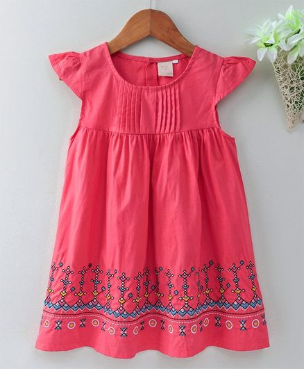 Smile Rabbit Cap Sleeves Embroidered Frock - Red