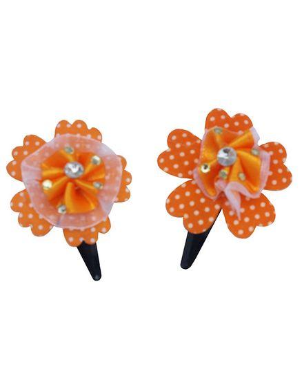 Rv Praman Stone Studded Flower Applique Clip - Orange