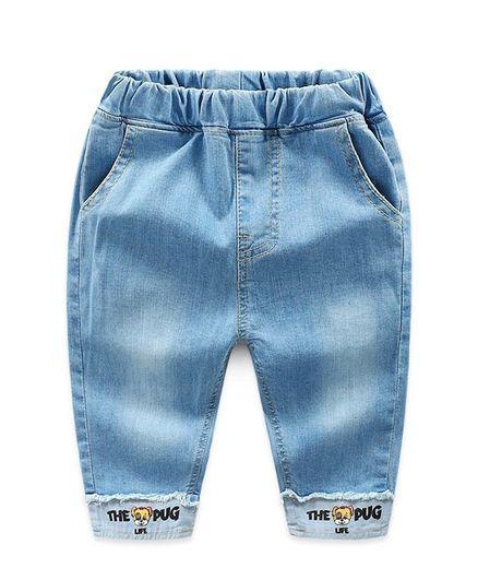Awabox Knee Length Pug Life Print Jeans - Blue