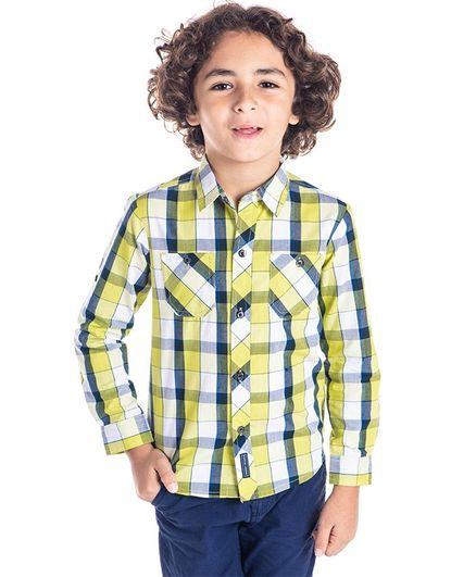 Cherry Crumble California Checkered Full Sleeves Shirt - Yellow & Blue
