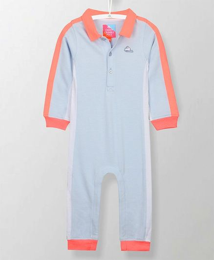Cherry Crumble California Solid Full Sleeves Romper - Blue