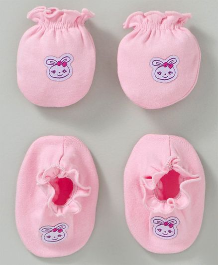 Ben Benny Mittens & Booties Set Animal Patch - Light Pink