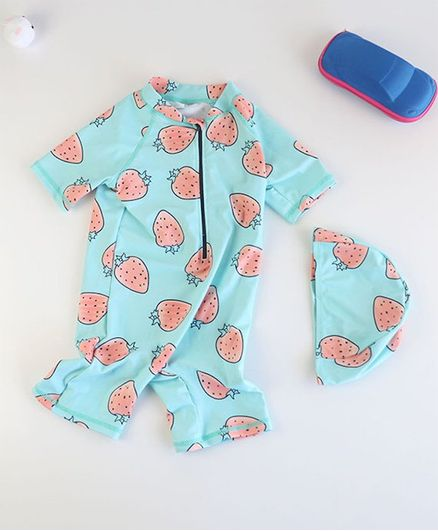 Pre Order - Awabox Half Sleeves Strawberry Print Swimsuit With Cap - Blue