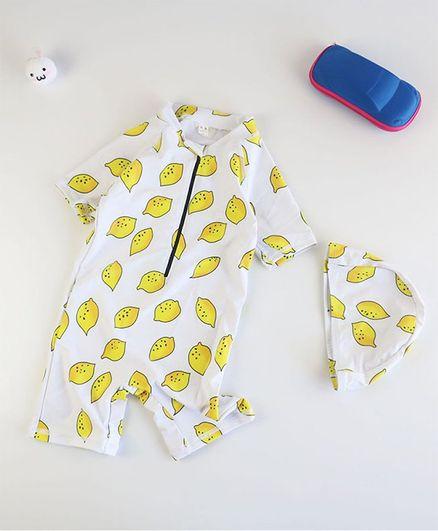 Pre Order - Awabox Half Sleeves Lemon Print Swimsuit With Cap - White