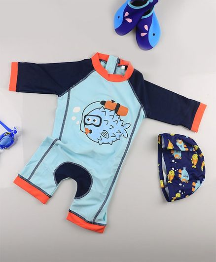 Awabox Full Sleeves Puffer Fish Print Swimsuit With Cap - Light Blue