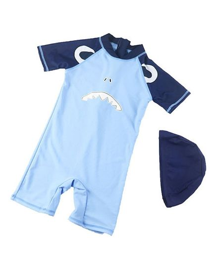 Pre Order - Awabox Half Sleeves Shark Face Print Swimsuit With Cap - Blue