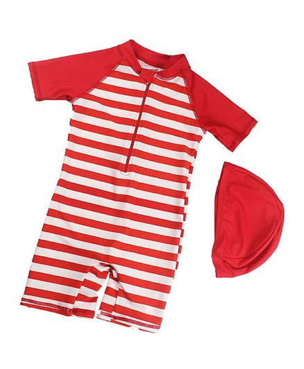 Pre Order - Awabox Half Sleeves Striped Swimsuit With Cap - Red