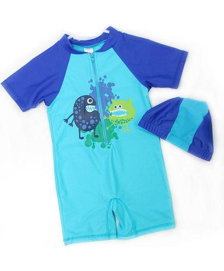 Pre Order - Awabox Half Sleeves Monster Print Swimsuit With Cap - Light Blue