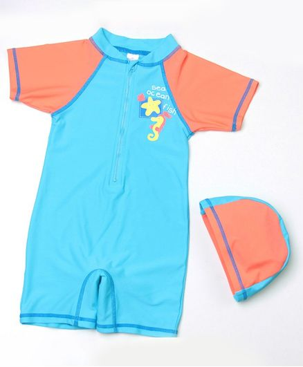 Pre Order - Awabox Half Sleeves Sea Horse Print Swimsuit With Cap - Light Blue