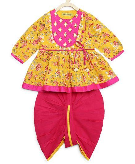 Tiber Taber Floral Print Full Sleeves Angrakha & Dhoti Set - Yellow & Pink