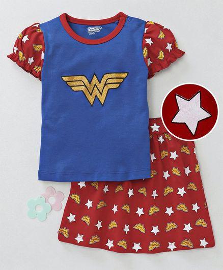 Mom's Love Cap Sleeves Top & Skirt Set Wonder Women Print - Royal Blue