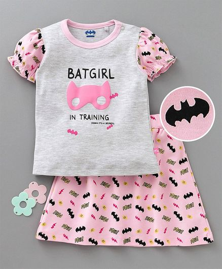 Mom's Love Balloon Sleeves Top & Skirt Bat Girl Print - Grey Pink