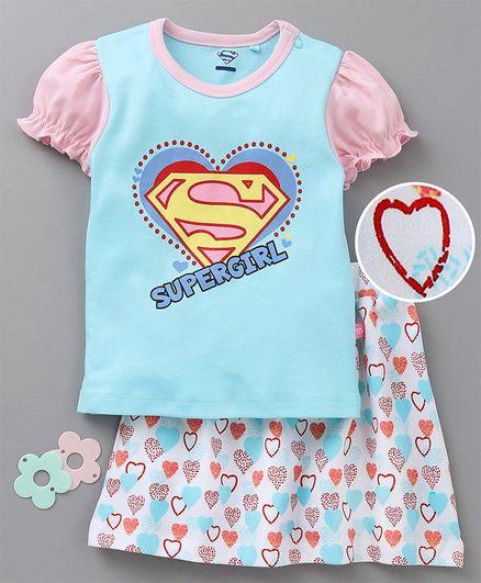 Mom's Love Balloon Sleeves Top & Skirt Super Girl Print - Blue Pink