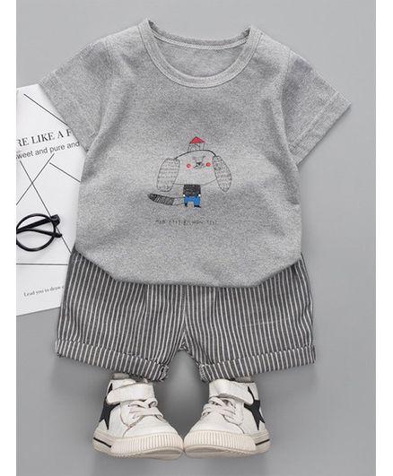 Pre Order - Awabox Half Sleeves Animal Print Tee & Striped Shorts Set - Grey