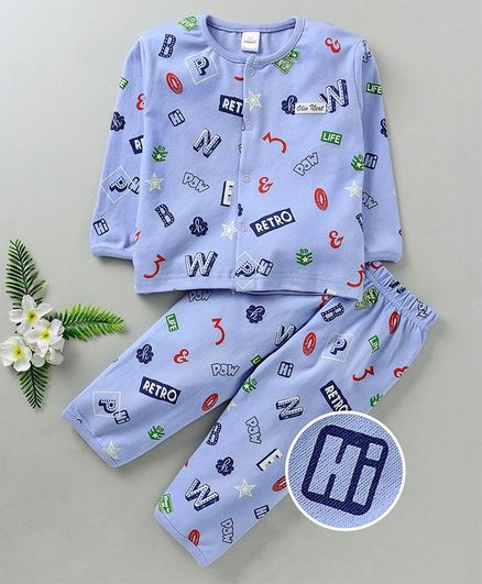 Olio Kids Full Sleeves Night Suit Multi Print - Blue