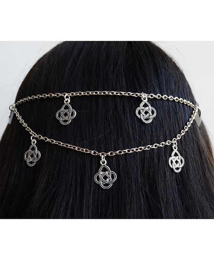 Pretty Ponytails Mandala Detailed Head Chain - Silver