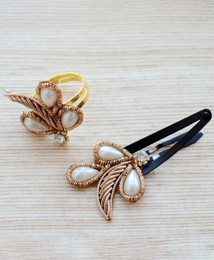 Pretty Ponytails Pearl Detail Ring & Snap Clip Set - Gold & White