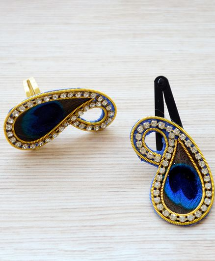 Pretty Ponytails Peacock Feather Design Ring & Snap Clip Set - Blue & Gold