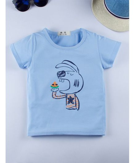 Kidofash Eating Rabbit Print Half Sleeves Tee - Blue