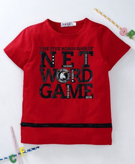 Noddy Half Sleeves Net Word Game Print Tee - Red