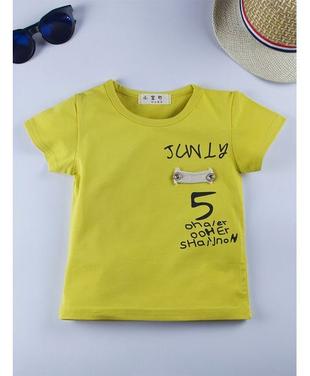 Kidofash Text Printed Half Sleeves T-Shirt - Yellow