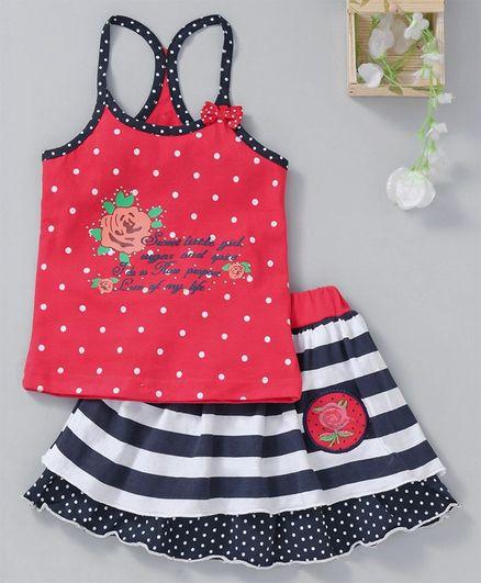 U R CUTE Polka Dots Sleeveless Top With Skirt - Red