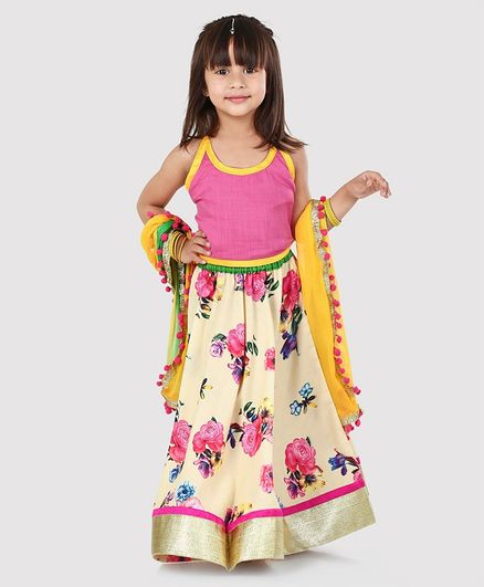 Kids Chakra Flower Printed Ghagra With Sleeveless Choli With Dupatta - Pink