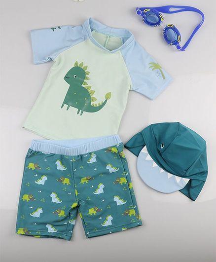 Pre Order - Awabox Dinosaur Print Half Sleeves Tee & Shorts Set With Cap - Blue & Green