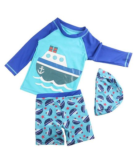 Pre Order - Awabox Ship Print Full Sleeves Tee & Swim Shorts Set With Cap - Blue