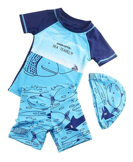 Pre Order - Awabox Half Sleeves Fish Print Two Piece Swimsuit With Cap - Blue