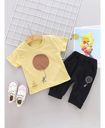 Pre Order - Awabox Circle Patch Half Sleeves T-Shirt & Bottom Set - Yellow & Black