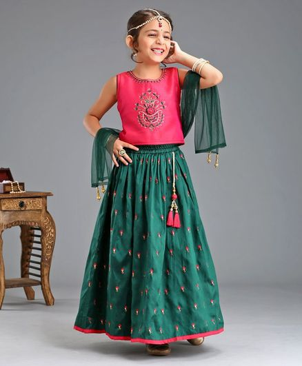Babyhug Lehenga With Sleeveless Choli & Dupatta Floral Embroidered - Pink Green