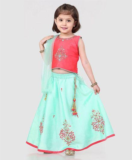 Babyhug Sleeveless Embroidered Choli & Lehenga Set With Dupatta - Peach Mint
