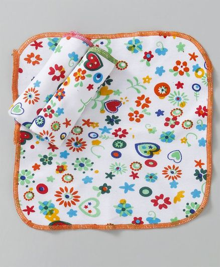 Sapphire Face Napkins Floral Print Pack of 3 - White Orange