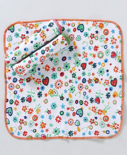 Sapphire Face Napkins Floral & Hearts  Print Pack of 3 - White Orange