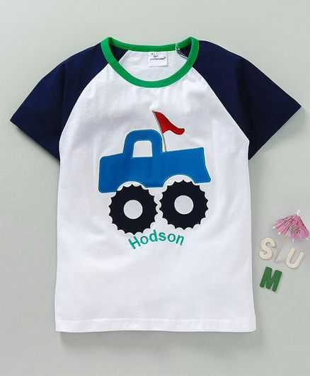 Kookie Kids Raglan Sleeves Tee Vehicle Embroidered - White