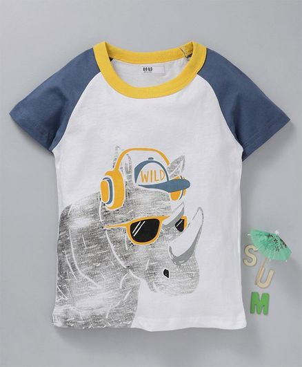 Kookie Kids Half Sleeves Tee Rino Print - White