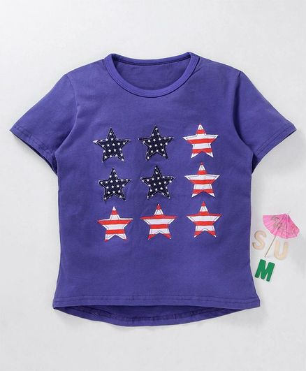 Kookie Kids Half Sleeves T-Shirt Star Patch - Purple