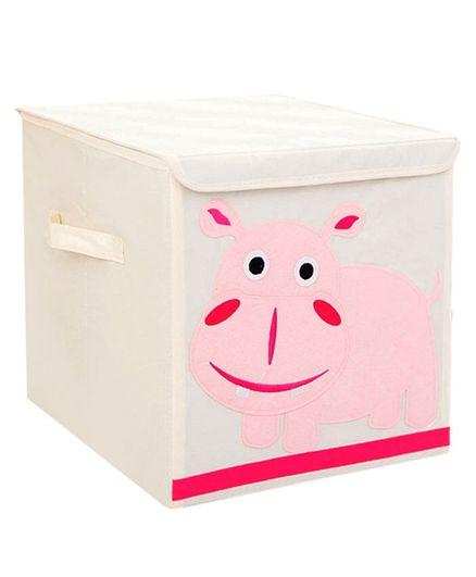 Nee & Wee Hippo Print Storage Box - Cream & Pink