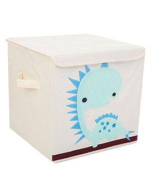 Nee & Wee Dinosaur Print Storage Box - White & Blue