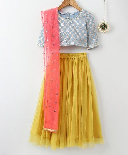 Amairaa Printed Half Sleeves Choli & Lehenga With Dupatta Set - Blue & Yellow