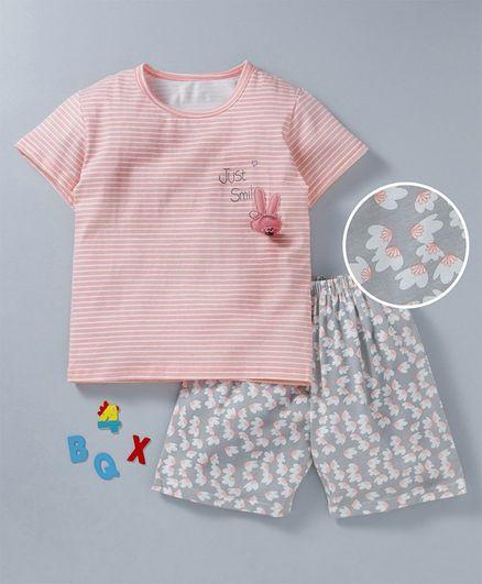 Kookie Kids Striped Half Sleeves T-shirt Just Smile Print - Light Pink